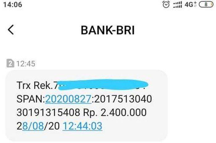 SMS pemberitahuan dari Bank BRI bahwa bantuan Rp 2,4 juta pemerintah masuk rekening