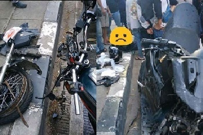 Ngilu! Adu banteng Yamaha RX-King Vs Yamaha NMAX, 2 pengendara tewas seketika, motor gak karuan bentuknya.