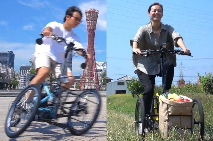 Sepeda roda tiga Kawasaki Noslisu bermesin listrik cocok buat jualan