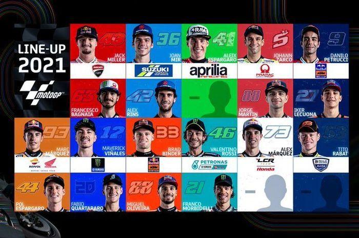 Komposisi pembalap MotoGP musim 2021 masih tersisa dua pembalap lagi.
