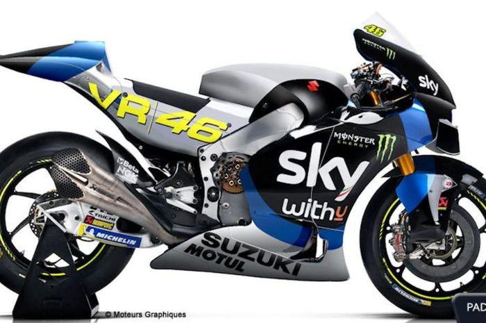 Heboh, beredar foto desain motor tim milik Valentino Rossi VR46 yang menjadi tim satelit Suzuki di kelas MotoGP.