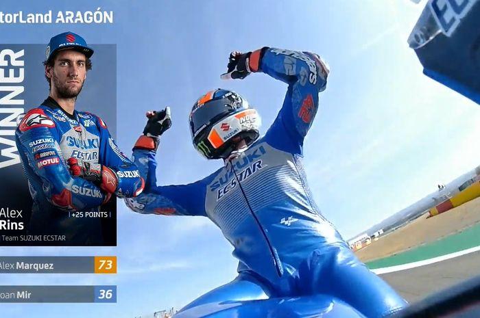 Alex Rins berhasil juara pertama MotoGP Aragon 2020
