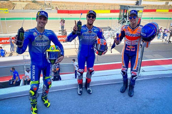 Hasil balap MotoGP Aragon 2020, duo Alex Berkuasa, Rins finis pertama Marquez kedua, Joan Mir harus puas di urutan ke-3.