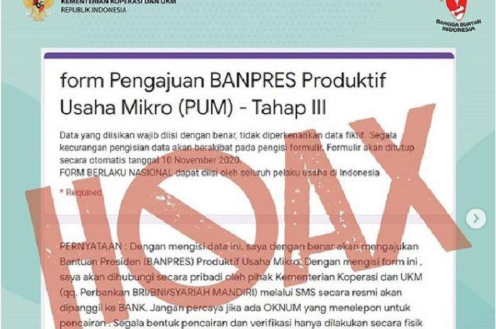 Awas beredar formulir pengajuan Banpres Produktif Usaha Mikro hoax, nekat isi data diri bisa bahaya.