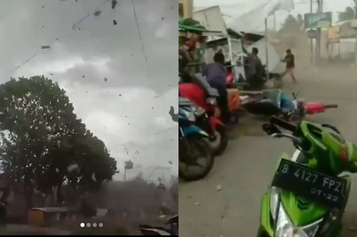 Bekasi gempar, angin puting beliung acak-acak banyak bangunan, motor sampai jatuh dan terseret.