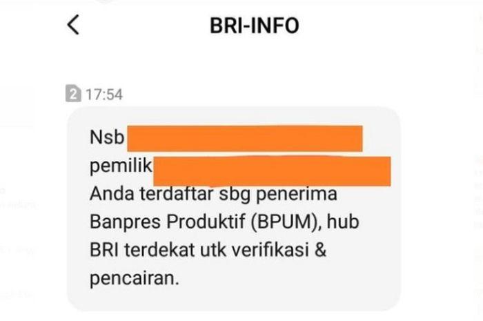 Ilustrasi SMS notifikasi BLT UMKM. Bikers, Begini Cara Mencairkan Dana BLT Rp 2,4 Juta dari Pemerintah