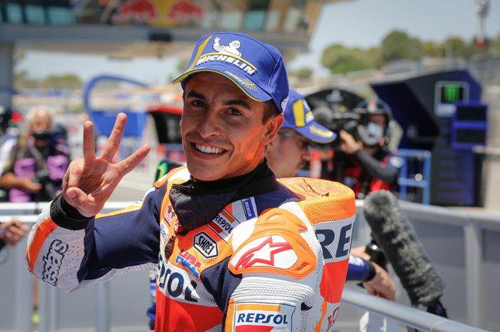 Begini time line kronologi Marc Marquez cedera sampai gak balapan di MotoGP 2020, Marc Marquez saat kualifikasi MotoGP Spanyol 2020, Juli silam