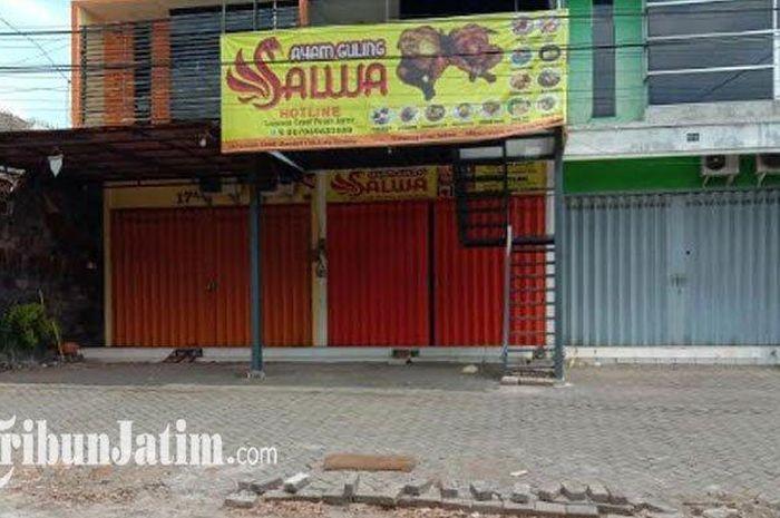 Lokasi kejadian pencurian besi tanjakan sepeda motor yang terjadi di sebuah depot ayam guling yang berada di sebuah ruko di Jalan Terusan Candi Mendut, Kelurahan Mojolangu, Kecamatan Lowokwaru, Kota Malang pada Kamis (19/11/2020) dini hari.