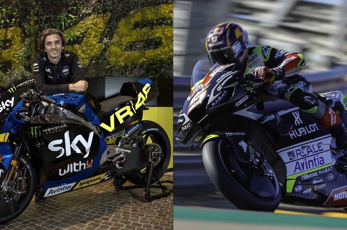 Livery motor MotoGP Luca Marini musim 2021 (kiri) bakal mengubah livery skuat Esponsorama Racing musim ini (kanan). Bikin penasaran saja nih