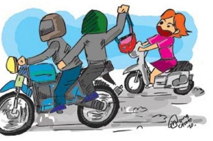 Ilustrasi begal-begal muda saat beraksi di jalanan.