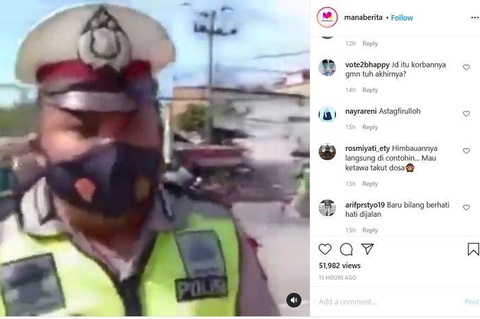 Viral detik-detik kecelakaan di belakang polisi
