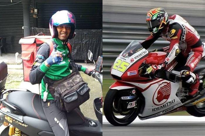 Azlan Shah mantan pembalap Moto2 tidak malu jadi driver antar makanan