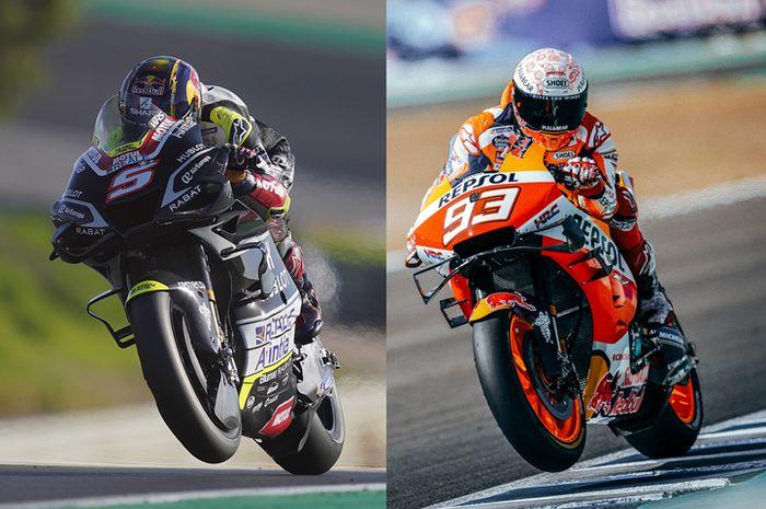 Nomor start 5 milik Johann Zarco (kiri) dan nomor start 93 milik Marc Marquez (kanan) jadi nomor start paling kecil dan terbesar di MotoGP 2021