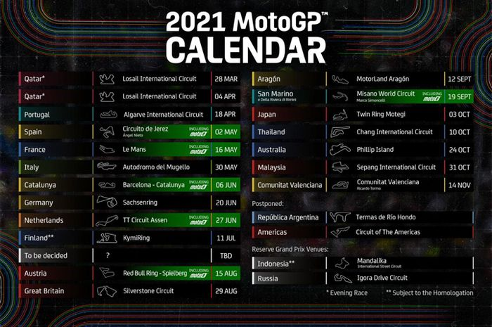 Update kalender MotoGP 2021, MotoGP Qatar ditunjuk gelar 2 ronde sekaligus. Gusur MotoGP Argentina dan Amerika Serikat berubah status jadi tunda