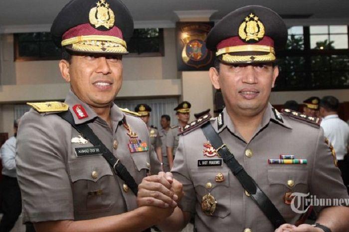 Calon Kapolri Komjen Listyo Sigit Prabowo (kanan) berencana akan menghapus tilang di jalan, yang biasa dilakukan oleh polisi lalu lintas (polantas).