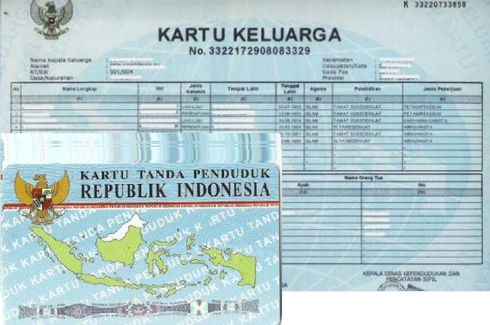 Ilustrasi. KTP dan KK untuk daftar bantuan pemerintah