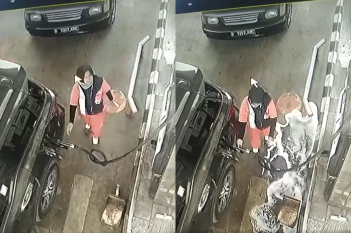 Petugas SPBU tetap kalem saat BBM tumpah.