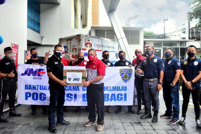 Harley Davidson Police Owners Group (POG) dan JNE kirim bantuan korban Gempa di Sulawesi
