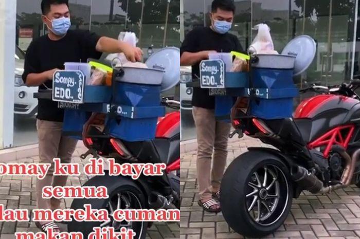 Ahmad Theo Hendra jualan siomay pakai moge Ducati Diavel