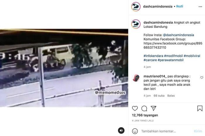 Waduh, viral video motor ditabrak sopir angkot yang lawan arah!