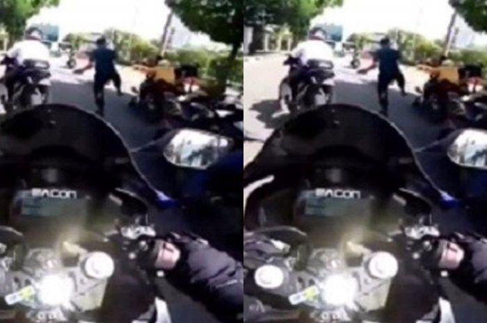 Bisa didor, bikers yang ditendang Paspampres gara-gara terobos ring 1 Istana Negara.