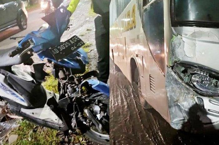 Honda BeAT ringsek tabrakan lawan bus Mira, pemotor tewas.