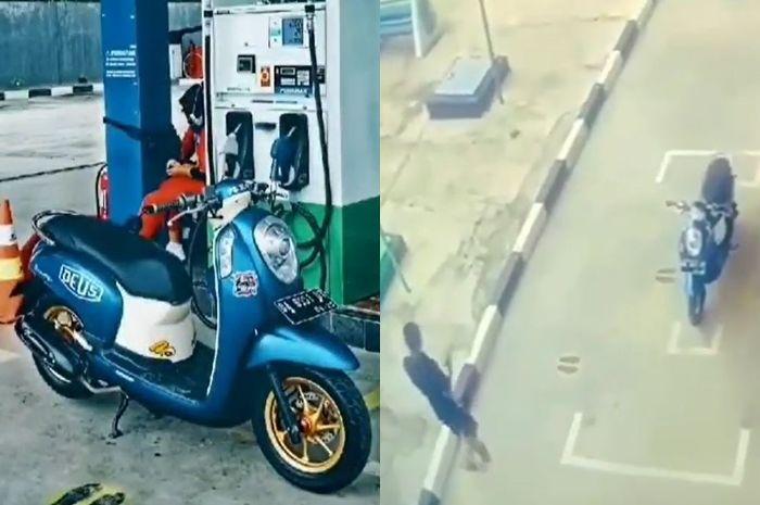 Pemotor Honda Scoopy foto motor di SPBU, netizen: alay.
