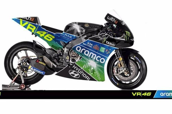 Bocor, penampakan livery tim VR46 milik Valentino Rossi bareng sultan asal Arab Saudi di MotoGP 2022.