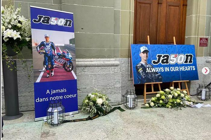 Test rider KTM, Dani Pedrosa menghadiri pemakaman Jason Dupasquier yang wafat saat gelaran MotoGP Italia 2021.