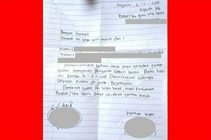 Surat Izin tidak masuk sekolah karena alasan Operasi Zebra